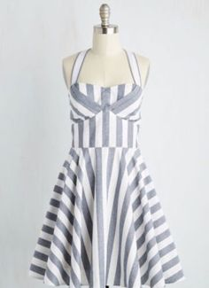 BNWT Modcloth Ixia 2X/18-20 Traveling Cake Pop Striped Chambray Dress