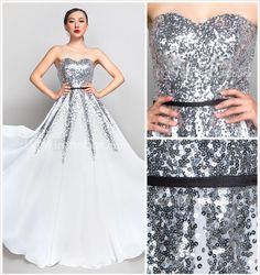 A-line Sweetheart Floor-length Chiffon And Sequined Evening/Prom Dress (890072) - CAD $ 148.47
