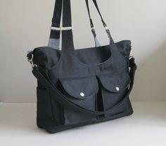 Sale - Black Canvas Bag - 3 Compartments - diaper, messenger, shoulder bag, gym…