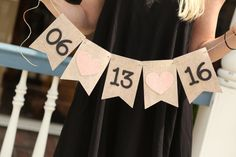 rustic burlap save the date wedding date banner