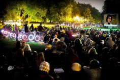 Bicycle Powered Cinema – Showing a short film of the background and heritage of the race, with people cycling to provide the energy required to screen the film prior to start. Free Film Festival, Peckham Rye
