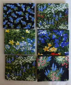 Cotton Fabric, Quilt, Home Decor, Fat Quarter Bundle of 6, #4 Black~Wildflowers VII by Moda, Fast Shipping FQ187 https://www.etsy.com/shop/suesfabricnsupplies