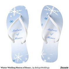Winter Wedding Matron of Honor Flip Flops