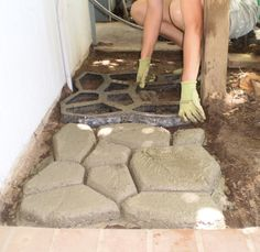using concrete paving forms to create paths and patios. They're the non-perfectionists pal. No need to spread sand or remove every little rock. Just clear a spot and start building. (Check-out video)