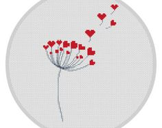 Dandelion Cross Stitch Pattern Counted cross stitch pattern Hearts Away PDF Needlecraft Instant download Love cross stitch Modern chart X101