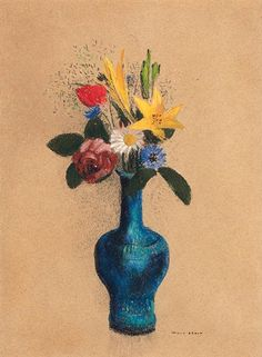 Odilon Redon - Bouquet des fleurs dans un vase bleu