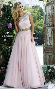 Gorgeously feminine and romantic, two-piece prom dress. for other two-piece prom dresses. The Sherri Hill line is selling out fast. Grad Dresses, Dance Dresses, Ball Dresses, Homecoming Dresses, Ball Gowns, Bridesmaid Dresses, Formal Dresses, Wedding Dresses, Dresses 2016