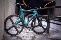 Ingria blue track bike. Rare wheels. Not Corima, not Hed.