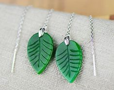 Excited to share this item from my shop: Threader Earrings Sterling Silver, Carved Jade Earrings, Green Leaf Earrings Jade Earrings, Jade Necklace, Leaf Earrings, Etsy Earrings, Emerald Pendant, Sterling Silver Necklaces, Fashion Jewelry, Etsy Shop, Green