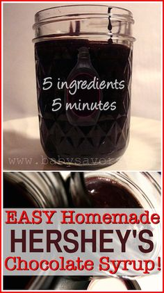 "DIY Hershey's chocolate syrup with just 5 ingredients. Another pinner said, ""Made this yesterday and it tastes EXACTLY like the real thing!"""