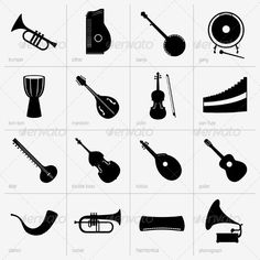 Musical Instruments   #GraphicRiver         Set of musical instruments     Created: 14August13 GraphicsFilesIncluded: VectorEPS Layered: No MinimumAdobeCSVersion: CS Tags: acoustic #banjo #bass #clarion #classical #cornet #design #double #flute #gong #graphic #guitar #harmonica #icon #kobza #mandolin #music #musicalinstrument #pan #phonograph #pictogram #set #silhouette #sitar #sound #tom-tom #trumpet #vector #violin #zither