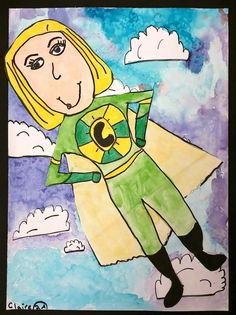 Amazing that this teacher did this project with second grade! Superhero portraits!