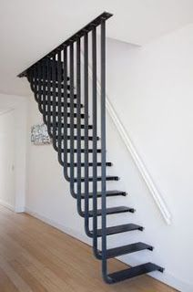 Few Breathtaking DIY Stairs Projects staircase In most of the houses stairs are just being used from taking you from one point to another. If your stairs do the same purpose only then you are missi. Steel Stairs, Loft Stairs, House Stairs, Deck Stairs, Basement Stairs, Interior Stairs, Interior Architecture, Stairs Architecture, Stair Railing Design