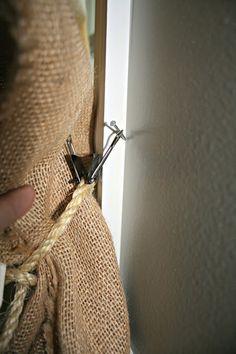 No-Sew Burlap Curtains and Great Hanging Tip! #burlap #curtain #trick