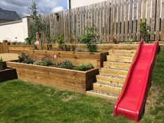Sloped Backyard Landscaping, Sloped Yard, Backyard Patio, Steep Backyard, Terraced Backyard, Back Garden Design, Backyard Garden Design, Hillside Garden, Terrace Garden