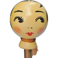 Vintage Flapper Girl Art Deco Painted Wooden Hat Display Stand
