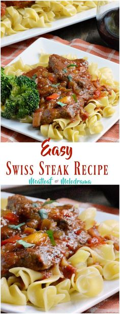 Easy Swiss Steak Recipe - Thin cuts of round steak simmered in tomato beef gravy until tender - a modern twist on an old retro recipe! Gluten free and relatively low carb. from Meatloaf and Melodrama