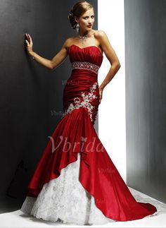 Wedding Dresses - $232.00 - Trumpet/Mermaid Sweetheart Chapel Train Taffeta Lace Wedding Dress With Beading Appliques Lace Cascading Ruffles (00205000358)