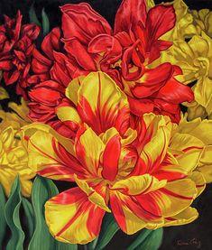 'Tulipomania 14' painting + prints at www.FionaCraig.com