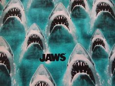 "Crazy ""JAWS-MAN EATTING SHARKS"" Handmade Cotton Pillowcase Standard/Queen-LAST 3 #Handmade #ClassicMovie"