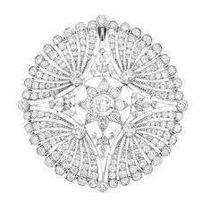 Belle Epoque Platinum and Diamond Pendant-Brooch The pierced openwork circular plaque centering a floret and quartered by stylized fan motifs set throughout with 237 old European-cut diamonds approximately cts. circa 1905 approximately dwt. Art Nouveau, Art Deco, Edwardian Jewelry, Antique Jewelry, Vintage Jewelry, Silver Jewelry, High Jewelry, Jewellery, Jewelry Center