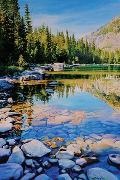 Michelle T. Courier, Avalanche Lake 2, acrylic, 72 x 48.