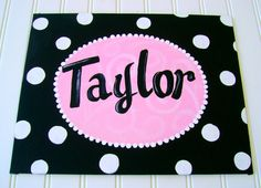 Hand painted personalized 11X14 name art canvas by BellaLouart