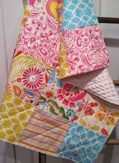 Girl Baby Quilt, Modern Handmade, Flowers and Butterflies, PInk Yellow Lime…
