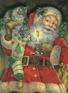.What a beautiful Santa...and with a cat!                                                                                                                                                                                 More