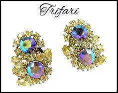 1960s TRIFARI AB Rhinestone Earrings, Aurora Borealis  Rhinestones  https://www.etsy.com/listing/247137610/1960s-trifari-ab-rhinestone-earrings?ref=shop_home_active_2&utm_content=buffer46760&utm_medium=social&utm_source=pinterest.com&utm_campaign=buffer #vogueteam #etsygifts