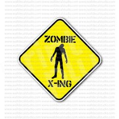 Zombie X-ing Crossing Yellow Sign Sticker