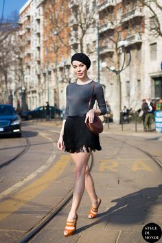 fringe skirt with gray top