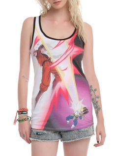 Racer back tank top from Dragon Ball Z with an epic battle sublimation print design.