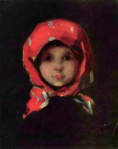 """This little girl (""""Kleines Mädchen"""" -The little girl in the red kerchief) is from the nineteenth century. She lives in this painting by Nicolae Grigorescu Potpourri, Classic Paintings, Portraits, Red Scarves, Western Art, Face Art, Art History, Watercolor Art, Art Drawings"""