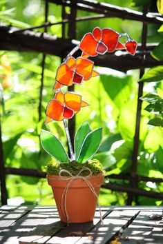 Orange Orchid Stained Glass Decorative Suncatcher by GalaGardens, $46.50