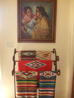 Use a wrought iron blanket rack for displaying vintage Mexican serapes. Mexican Hacienda, Hacienda Style, Mexican Style, Mexican Folk Art, Mexican Bedroom, Mexican Home Decor, Mexican Interior Design, Mexican Designs, Spanish Style Decor