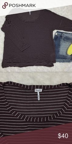 """Splendid 3/4 Sleeve Silver Metallic Striped Top Dark purple hue 3/4 sleeve relaxed fit cotton top with silver metallic stripes. Slightly longer in back. Split on the sides. 88% rayon and 12% lurex. Length measures 24"""" in front and 27"""" in back. Bust measures 22"""". Splendid Tops Tees - Long Sleeve"""