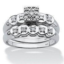 1/8 TCW Round Diamond Platinum over Sterling Silver Bridal Engagement Ring Wedding Band Set