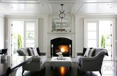 fireplace with framed in mirror