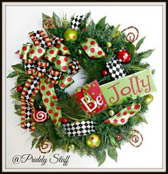 Christmas Wreath For Front Door Merry Christmas by PriddyStuff