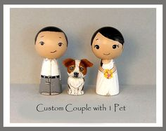 Custom  Couple with One Pet Wedding Cake Toppers by licoricewits, $74.00