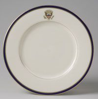 From a dinner service for Franklin Delano Roosevelt (President 1933-1945)--Plate/Made in Trenton, New Jersey, United States, North and Central America c. 1934--Made by Lenox Incorporated, Trenton, New Jersey, 1889 - present.--Porcelain with printed, enamel, and gilt decoration. Diameter: 10 9/16 inches (26.8 cm)