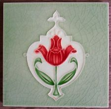Original English Art Nouveau tile , c1912/14? 6x6