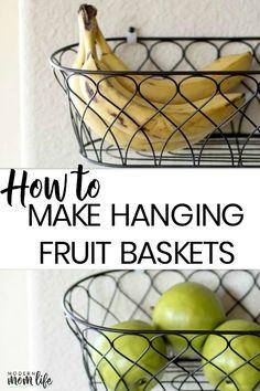 ideas kitchen wall organization fruits basket for 2019 Hanging Baskets Kitchen, Hanging Fruit Baskets, Baskets On Wall, Wall Basket, Fruits Basket, Wire Baskets, Storing Fruit, Fruit Storage, Food Storage