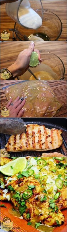 Coconut Lime Chicken  •1 package of skinless, boneless chicken breasts •3 Tbsp canola oil •zest of 1 large lime •1 tsp cumin •2 Tbsp soy sauce •1 - 1 1/2 tsp kosher salt •3 Tbsp sugar •2 tsp curry powder •3/4 cup canned coconut milk •juice of 1 lime  •optional - 1 serrano pepper, finely minced or cut into thin slivers •1/4 cup chopped fresh cilantro
