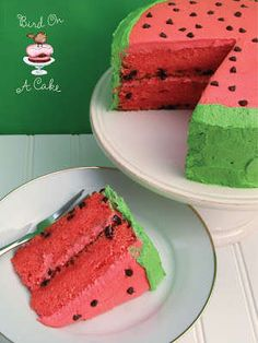 Watermelon Cake - Most cakes that look like rainbows don't taste like rainbows, but this watermelon cake looks and tastes like watermelon. This  recipe and cak...