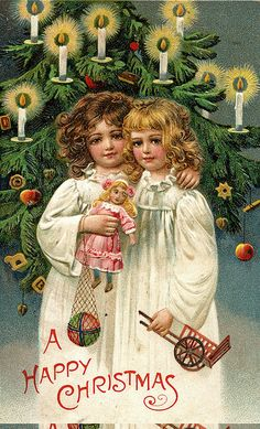 sisters, on an old fashioned Christmas morning... Reminds me of me n my sister <3