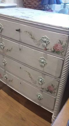 Beautiful antique drawers painted in Vintro Chalk Paint Yorkshire Stone,  decoupaged with roses and finished wax by Vintro Paint stockist Dagmar,  Estonia.