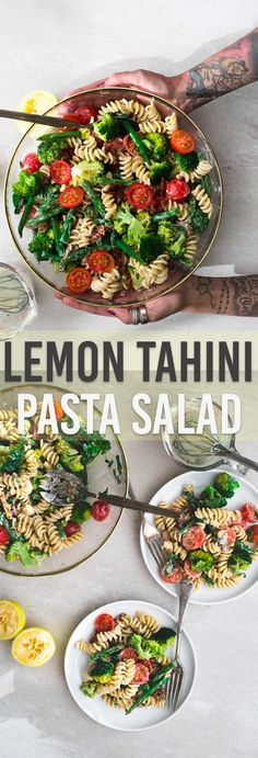 A delicious Vegan Lemon Tahini Pasta Salad loaded with Fresh Veggies and dressed with a delicious Tahini Lemon Dressing. Ready In Under 20 Minutes. #vegan #broccoli #pasta #pastasalad #lemon #tahini #simple #plantbased #dairyfree #noegg #healthy #greenbeans #simple