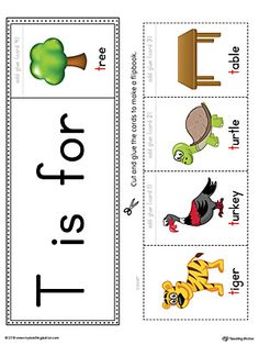Letter T Beginning Sound Flipbook Printable (Color) Worksheet.The Letter T Beginning Sound Flipbook in Color is the perfect tool for learning and practicing to recognize the letter T and it's beginning sound. Letter T Activities, Jolly Phonics Activities, Preschool Phonics, Phonics Books, Phonics Reading, Preschool Learning Activities, Letter T Words, Alphabet Words, Alphabet Book